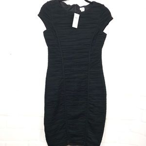 Cache black shirred ruched cocktail dress